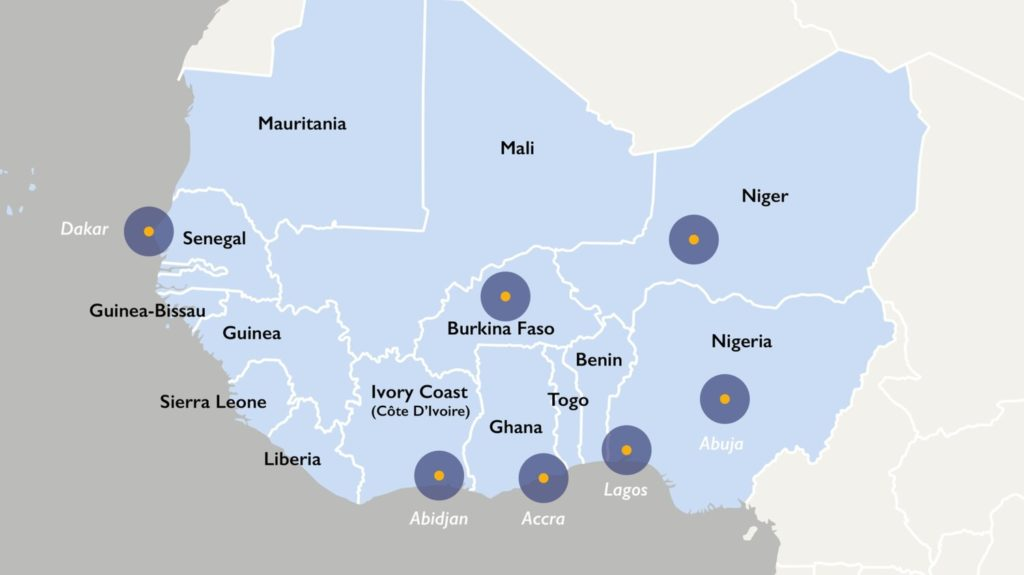 Map of West Africa highlighting WATIH participating countries